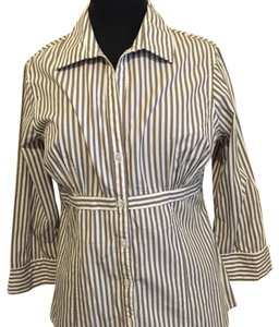 BCBG Paris Button Down Shirt Brown,white