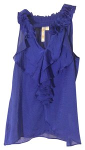 Adiva Satin Sleeveless Top Blue