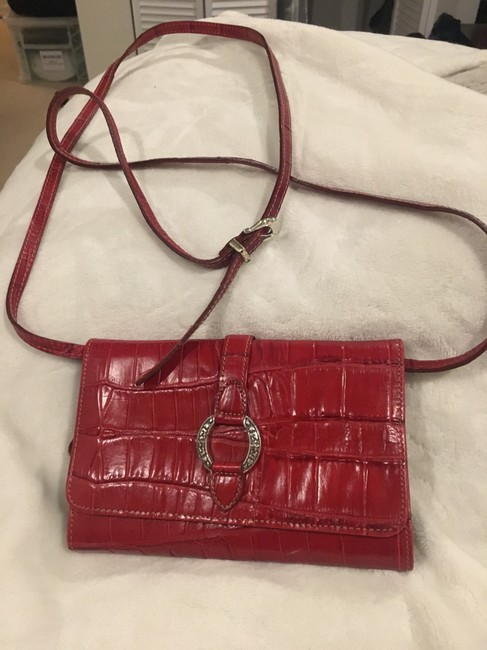 Item - Cross Body Purse Cherry Red Black Leather Fabric Weekend/Travel Bag