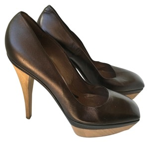 Marni Chloe Leather Designer Wood Barneys Brown Pumps