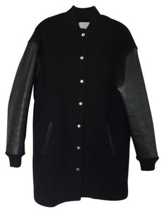 T by Alexander Wang Bomber Baseball Leather Wool Pea Coat