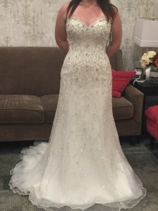 Maggie Sottero Ivory/Silver Beaded Cayleigh Wedding Dress Size 8 (M)