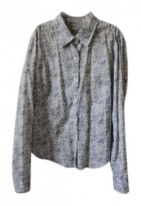 American Eagle Outfitters Button Down Shirt Gray, White