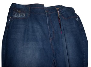 Blu Mist Crystals Studded Relaxed Fit Jeans-Medium Wash