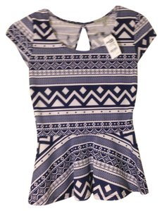 Charlotte Russe Peplem Tribal New Top Blue, White
