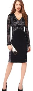 VfEmage Elegant Lace V-neck Optical Illusion Stretchy Dress