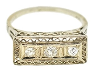Antique 14K White Gold 0.20Ct Diamond Rectangular Ring Size 6.5