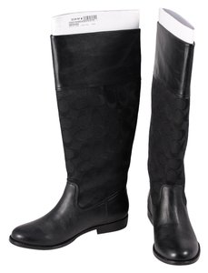 Coach Leather/Canvas Monogram Black Boots