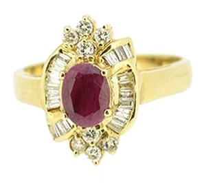 14K Yellow Gold 0.50Ct Diamond 1.0Ct Ruby Ring 4.7 Grams Size 7.5