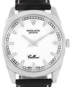Rolex Rolex Cellini Danaos 18k White Gold White Baton Dial Mens Watch 4243
