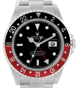 Rolex Rolex GMT Master II Black Red Coke Bezel Steel Watch 16710 Unworn