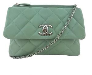 Chanel Silver Hardware Logo Cross Body Bag