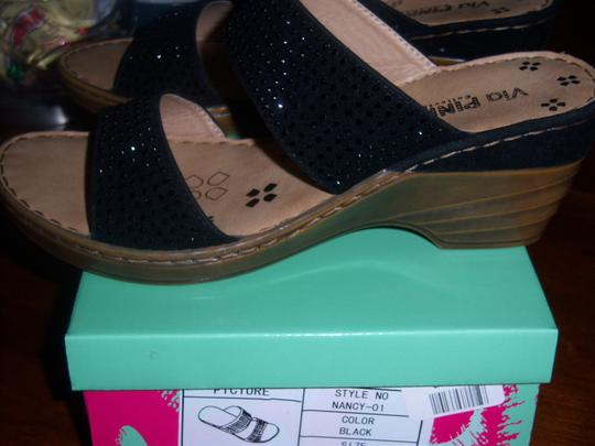 Via Pinky Collection Studded Crystals Black Sandals
