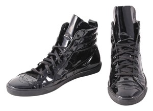 Saint Laurent Patent Leather High Tops Embroidered Logo Lace Up Black Athletic