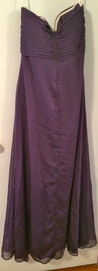 Bari Jay Plum Polyester Strapless Gown Feminine Bridesmaid/Mob Dress Size 14 (L)