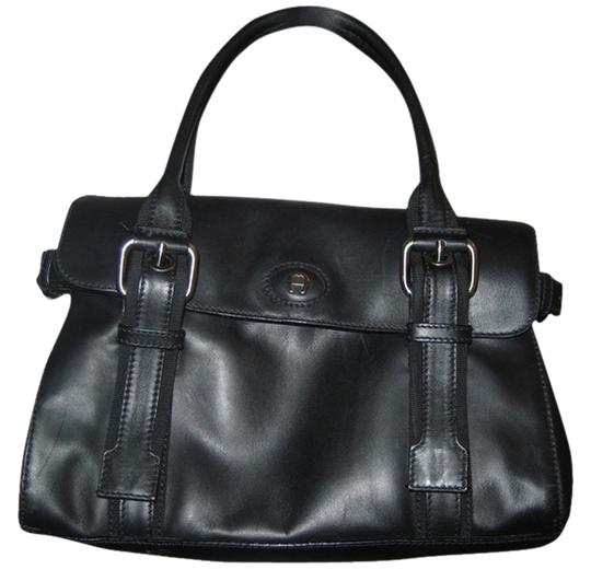 Etienne Aigner Classic Leather Vintage Tote in Black