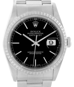 Rolex Rolex Datejust Stainless Steel Black Dial Mens Watch 16220 Box Papers