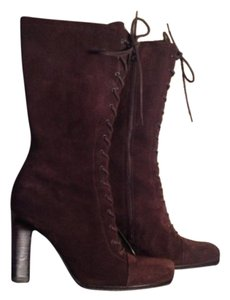 Prada Lace-up Suede Midcalf Leather Brown suede Boots