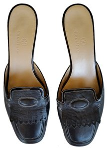 Cole Haan Blak Leather Kitten Heels Black Mules