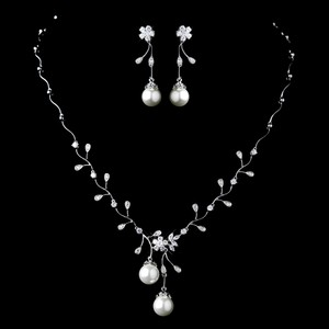 Elegance By Carbonneau Diamond White Pearl And Cz Bridal Jewelry Set