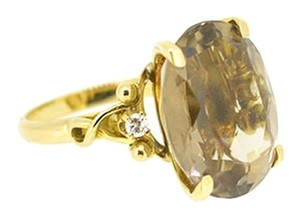 Other 18K Yellow Gold 0.06Ct Diamonds Smokey Topaz Ring 6.1 Grams Size 4.5