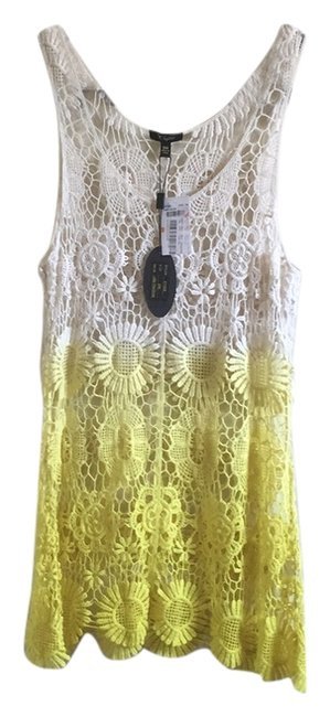 Item - White and Yellow Lace Tank Top/Cami Size 4 (S)