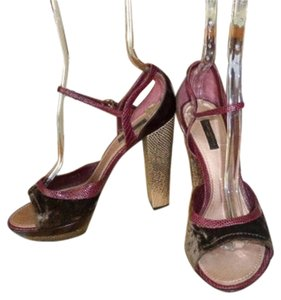 Louis Vuitton burgundy brown leather suede Platforms