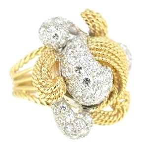 Other 14K Yellow Gold 2.20Ct Diamond Flower Cocktail Ring Size 5.5