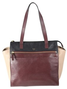 Fossil Tessa Leather Brown Shopper Tote in Brown/Multi