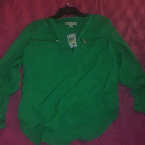 MICHAEL Michael Kors Green Zipper Top