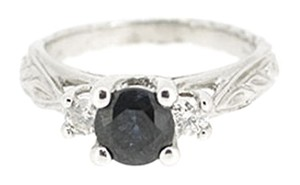 Other 14K White Gold 0.25Ct Diamond 0.75Ct Sapphire Ring 4.4 Grams Size 5