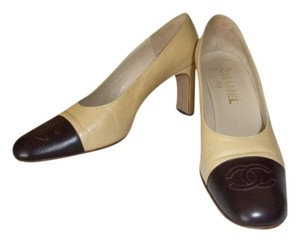Chanel beige & brown leather toe cap Pumps