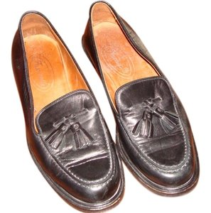 Faonnable Butter Soft Leather Tassels Black Flats
