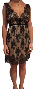 Melissa Odabash Lace Trim Formal Above The Knee Cocktail Dress Top Black/Champagne
