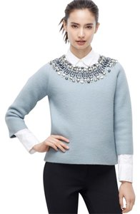 Ann Taylor Blue Jewel Neck Merino Wool Sweater