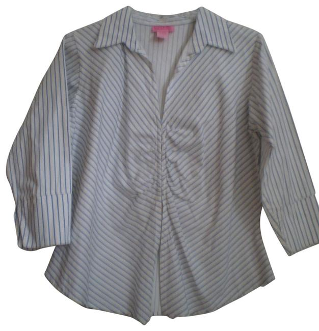 Preload https://item5.tradesy.com/images/she-s-cool-white-wblue-stripes-coollong-sleeved-cottonspandex-shirt-blouse-size-16-xl-plus-0x-136414-0-1.jpg?width=400&height=650