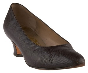 Salvatore Ferragamo Lizard Brown Pumps