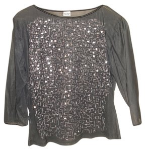 Other Party Blouse See Through Glamorous Top Black with sequins