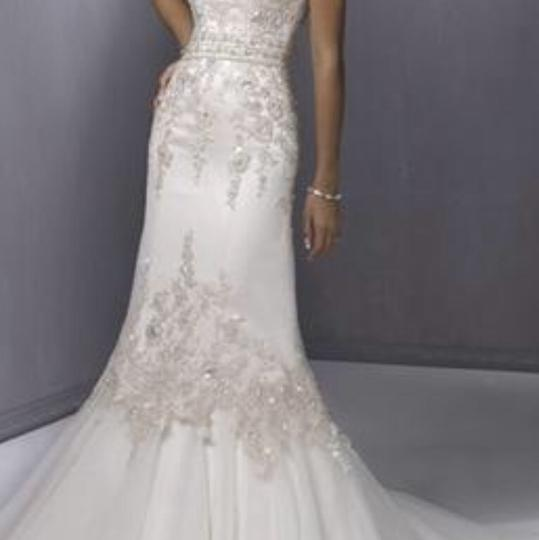 Maggie Sottero White with Pewter Wedding Dress Size 6 (S)