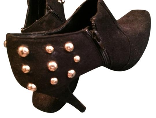 Rebel Heart Studded Casual Suede Gold Black Boots