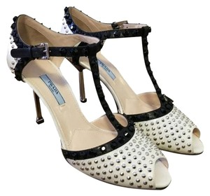 Prada Studded Peep Toe Strappy Pumps