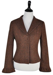 Nanette Lepore Rust Tweed Jacket Brown Blazer