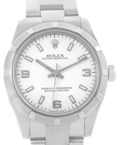 Rolex Rolex Oyster Perpetual Midsize Steel Silver Dial Watch 177210