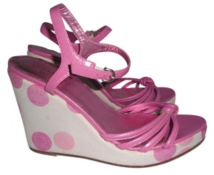 Coach Lona Polka Dot Wedges Pink Sandals