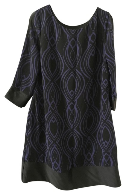 Item - Purple and Black Mod Limited Edition Mid-length Work/Office Dress Size 14 (L)