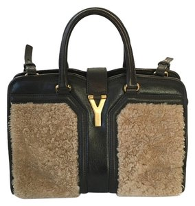 Saint Laurent Ysl Fur Tote in Dark Brown