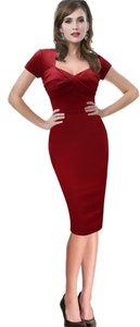 VfEmage Sexy Ruched Pinup Pencil Elegant Dress