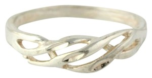 Woven Scalloped Silver Ring - Sterling Silver 925 8.25 Band Womens Estate