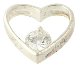 Cubic Zirconia Heart Pendant - 925 Sterling Silver White Cz Charm Womens