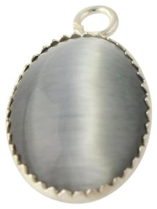 Gray Simulated Cats Eye Pendant - 925 Sterling Silver Womens Fashion Estate